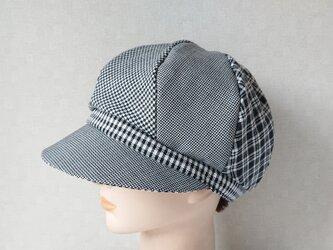 魅せる帽子☆ふんわり♪モノトーンのグラデーションキャスケット~チェックの画像