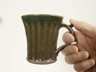 しのぎ手緑のマグカップの画像