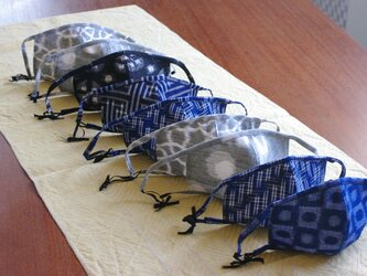久留米絣のマスク 柄①の画像