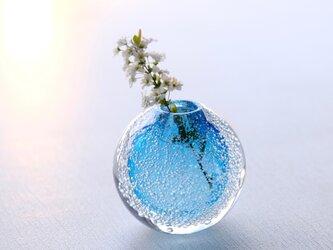 泡の一輪挿(トルコブルー)の画像
