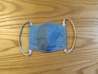 チェック立体マスクM (ブルー)の画像