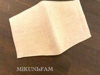 洋服屋さんの立体マスク*送料無料・ハーフリネン・ベージュ(レギュラーサイズ)の画像