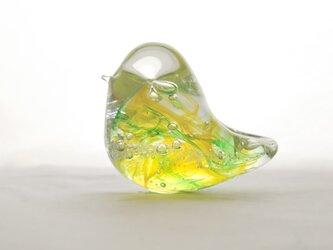 H様ご予約品☆グリーンイエローのガラスの鳥✱ご注文前に在庫の有無をお問い合わせ下さいの画像