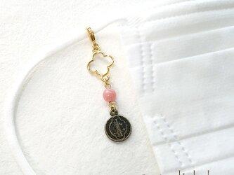 インカローズとメダイの天然石チャーム~マスクのアクセサリーやポーチ・バッグにの画像