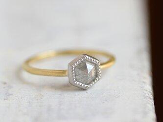 K18・Pt ローズカット・ダイヤモンドリング 〈ヘキサゴン・グレー〉の画像