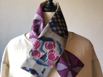 銘仙×リネン刺繍の小さな襟巻き2001 ストール ネックウォーマー プチマフラー リバーシブル 着物リメイクの画像