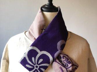 銘仙×リネン刺繍の小さな襟巻き2004 ストール ネックウォーマー プチマフラー リバーシブル 着物リメイクの画像