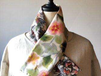 銘仙×リネン刺繍の小さな襟巻き2008 ストール ネックウォーマー プチマフラー リバーシブル 着物リメイクの画像