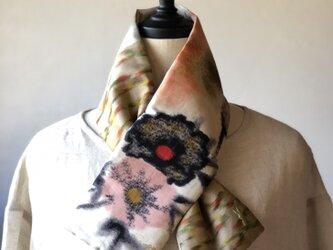 銘仙×リネン刺繍の小さな襟巻き2009 ストール ネックウォーマー プチマフラー リバーシブル 着物リメイクの画像