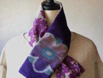 銘仙×リネン刺繍の小さな襟巻き2010 ストール ネックウォーマー プチマフラー リバーシブル 着物リメイクの画像