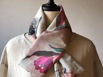 銘仙×リネン刺繍の小さな襟巻き2011 ストール ネックウォーマー プチマフラー リバーシブル 着物リメイクの画像