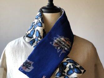 銘仙×リネン刺繍の小さな襟巻き2014 ストール ネックウォーマー プチマフラー リバーシブル 着物リメイクの画像