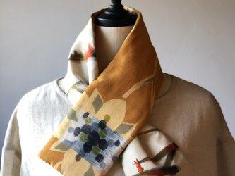 銘仙×コットン刺繍の小さな襟巻き2015 ストール ネックウォーマー プチマフラー リバーシブル 着物リメイクの画像