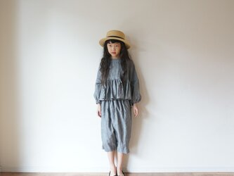 Linen washers gather blouse GRAY kids 3(120cm~),4(140cm~)sizeの画像
