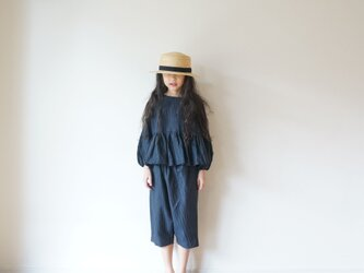 Linen washers gather blouse NAVY kids 3(120cm~),4(140cm~)sizeの画像