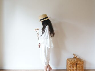 French linen gather blouse OFF/W kids 1(80cm~),2(100cm~)sizeの画像