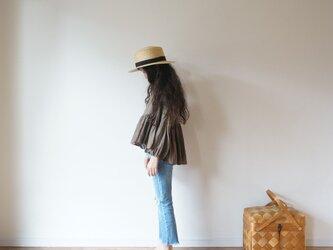 French linen gather blouse MOCHA kids 1(80cm~),2(100cm~)sizeの画像