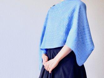 【ブラウス風にも】フィルタンゴストール  吉祥柄 ブルー metaruメタル。ブラウス、羽織りっぽい着こなしもOKの画像