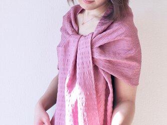 【冷房対策にも】フィルタンゴストール  西洋更紗柄 ラベンダーピンク。京都丹後より、洗えるシルクストール。の画像