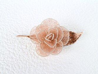 薔薇のブローチ(一葉・ワイン)の画像