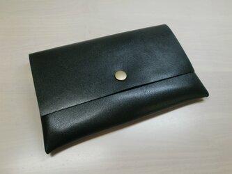 ゴートスキン・一枚革の通帳ケース・ブラック・0205の画像