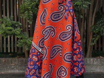 カンガの巻きスカート|アフリカ布スカート / ロング / マキシ丈の画像