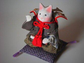 縮緬福猫 招き猫 かぶと その二十の画像