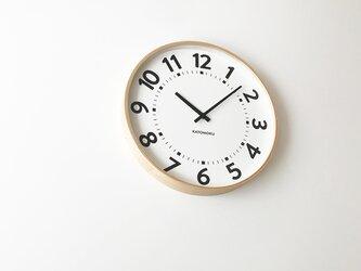 KATOMOKU plywood clock 16 km-106NARC ナチュラル 電波時計 連続秒針 大きい時計の画像