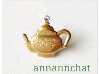 【ティーポット お茶の時間 真鍮 小さなピンブローチ】スワロフスキー ジャケット 母の日 の画像