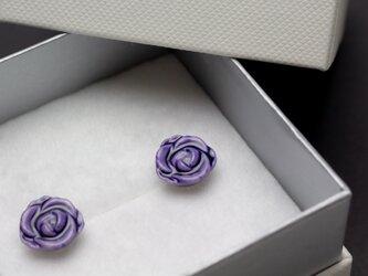 磁器上絵イヤリング 薔薇(パープル)の画像