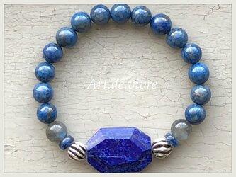オーバルカットのラピスラズリ&ラピスラズリ・カイヤナイトの天然石ブレスの画像