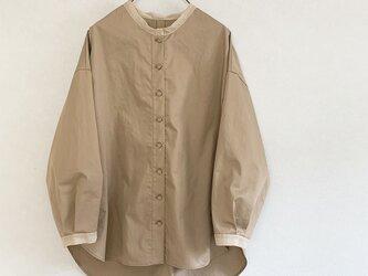 透けpointのあるコットンワッシャーシャツ[mocha]の画像