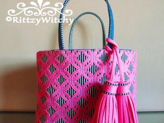 刺し子風トートバッグ(七宝つなぎデラックス・ピンク×ストライプ×デニム)の画像