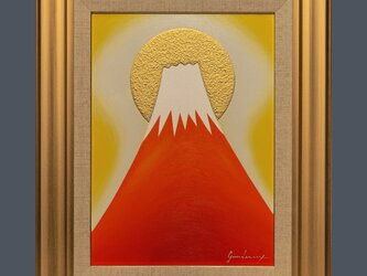 ●『金の太陽の日の出赤富士』●がんどうあつし絵画油絵F4号額付開運富士山肉筆直筆の画像
