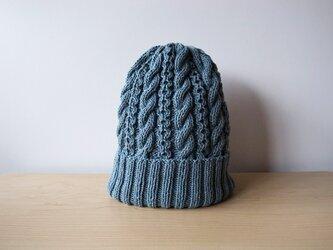 虫襖色(むしあおいろ)コットンウールのニット帽の画像