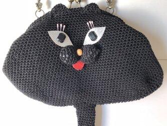 黒猫のハンドバッグの画像