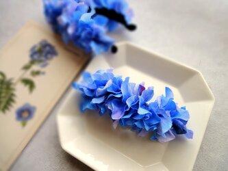バレッタ ■ 水彩画トーン 紫陽花 ■ ブルーの画像