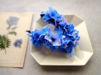 紫陽花のバナナクリップ ■ 水彩画トーン 紫陽花 ■ ブルーの画像