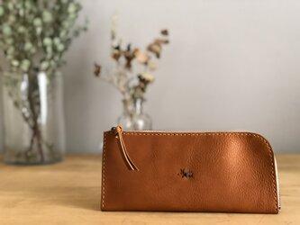 【期間限定送料無料】栃木レザー手縫い スリムな財布 (キャメル)   の画像