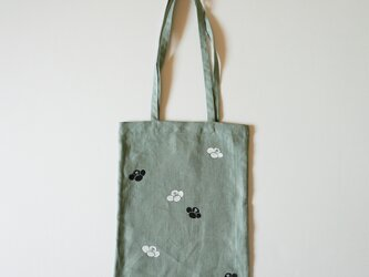 手提げバッグ うぐいす色 椿の画像