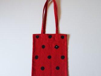 手提げバッグ 赤 ドット椿の画像