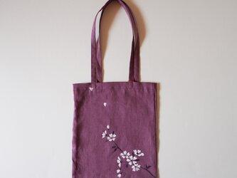 手提げバッグ パープル 桜の画像
