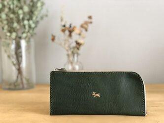 【期間限定送料無料】栃木レザー手縫い スリムな財布 (緑)   の画像
