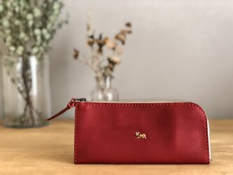 【期間限定送料無料】栃木レザー手縫い スリムな財布 (赤)   の画像