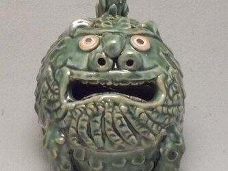 狛犬丸香炉「阿形」 織部釉の画像