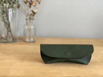 栃木レザー 手縫いのメガネケース(緑)の画像