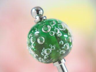 しゅわしゅわとんぼ玉のかんざし 緑×オリーブ色の画像