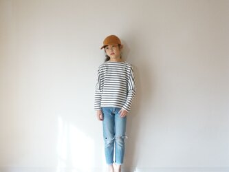 Cotton border wide cut-sew kids 90,100sizeの画像