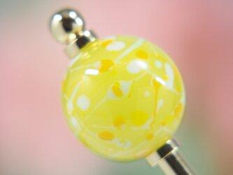 水風船模様とんぼ玉のかんざし レモン色の画像