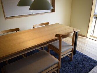 ヒノキ 鉄脚フレーム 棚付 ダイニングテーブル W140の画像